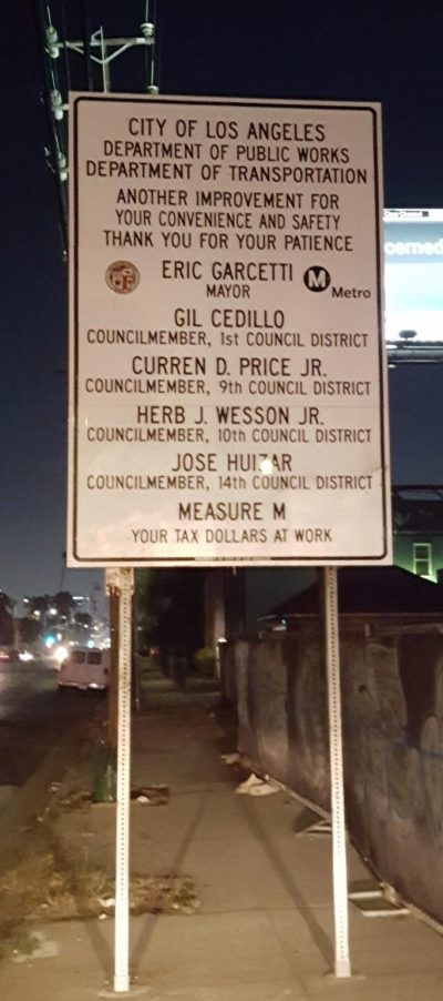 Measure M sign Arlington and Venice.